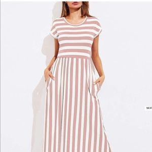 Dresses & Skirts - Pink and white striped maxi dress size small